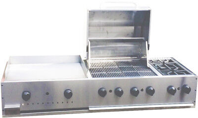 New. 60 Outdoor Bbq Combination Unit Griddle Grill 2 Burners. Made In Usa.