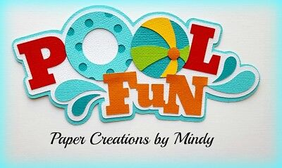 Craftecafe Mindy Pool Fun Swimming Summer Title premade paper piecing die cut
