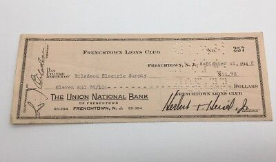 1942 Frenchtown Lions Club The Union National Bank Check To Biledeou Electric
