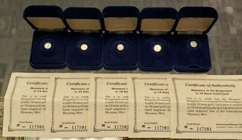 Genuine Lot of (5) 1980 Miniature 14K Gold Krugerrands with Box and COA