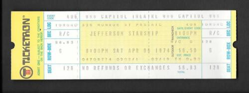 Original JEFFERSON STARSHIP First Tour  Unused Concert Ticket 1974 Capitol NJ