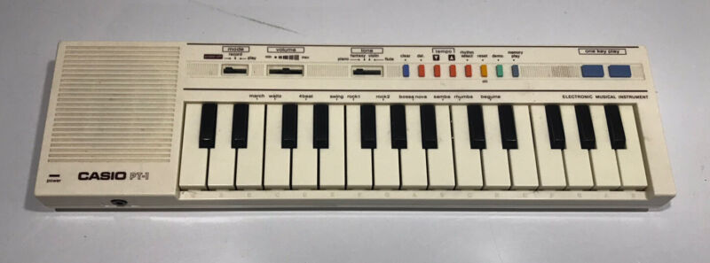 Vintage 80s Casio PT-1 Compact Electronic Keyboard Synthesizer Tested Working