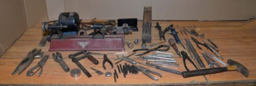 Jewelers watch makers tools anvil hammers punches vise lathe collectible lot