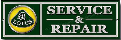 LOTUS SERVICE & REPAIRS METAL SIGN.CLASSIC BRITISH LOTUS SPORTS CARS.