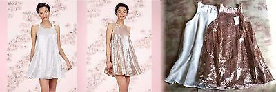 LAUREN CONRAD Sequin Swing Dress Runway Collection Rose Gold Gardenia White (Sequined Swing)