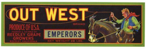 OUT WEST Vintage CA Grape Crate Label, Cowboy, Western, Roper, AN ORIGINAL LABEL