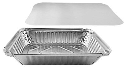 Handi-foil 2 Lb. Oblong Aluminum Container Take-out Pan Wboard Lid 50 Sets
