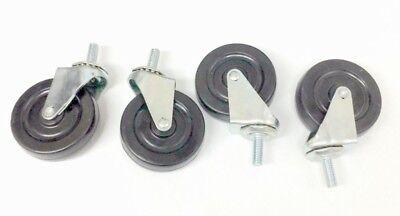 4 3 In. Soft Rubber Threaded Stem Swivel Caster Wheels