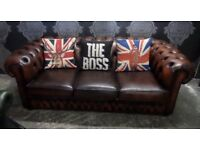 Stunning Vintage Chesterfield Tan 3 Seater Sofa Leather Couch Settee - Uk Delivery