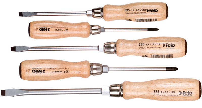 Felo 5pc Beechwood Slotted & Phillips ScrewDriver Set Germany with Hex Bolster