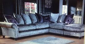 Grey Crush Velvet corner sofa *6 months old*