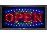 Flashing Colour LED OPEN Sign Neon Display Shop Store Window Hanging Light Low Power Consumption