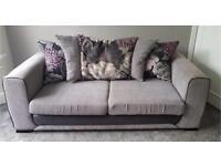 Black & Grey 2x 3 seater sofas 1x swivel chair