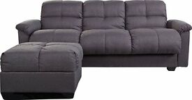 BRAND NEW CATE FABRIC SOFA BED WITH OTTOMAN & STORAGE AND FOLD DOWN TABLE! HURRY. LIMITED STOCK!!!!