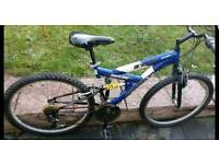 Blue dual suspension mountain bike, bicycle