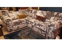 Stunning quality LUSTRO velvet corner L shape sofa EX SHOWHOME