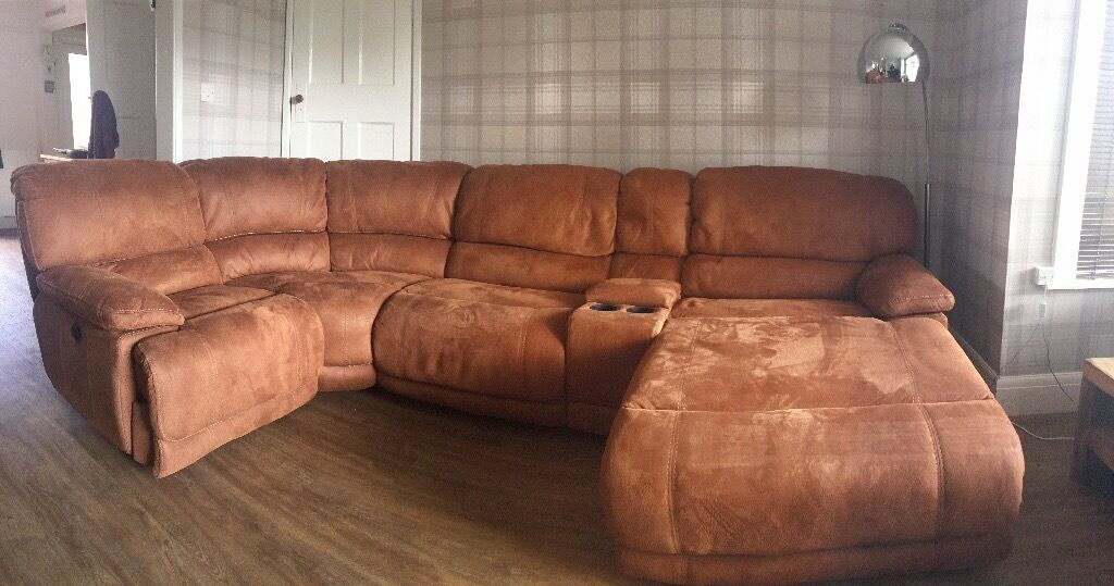 Large luxury brown suede ette corner sofa with storage for Sectional sofa with reclining ends