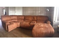 Large luxury brown suede-ette corner sofa with storage, chaise lounge and two reclining ends