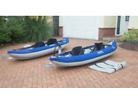 Inflatable Kayaks Best offers on Kayak 2 xBlue/grey Aquaglide Chinook 2 person Kayaks for Sale!