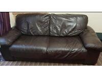 Sofa (3-piece sofa set, Black leather)
