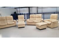 Ekornes Stressless 2x2 seaters & 2 swivel recliner leather chairs & 2 x ottoman