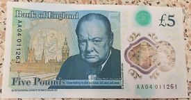 AA04 001 new £5 note.