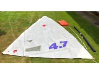 Laser 4.7 rig / sail without any sail numbers, includes mast section