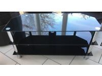 Black gloss tempered glass 8mm TV stand up to 50 inches