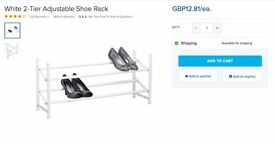 Adjustable White Shoe Rack