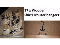 37 Trouser/Skirt hangers wooden ones only used for a few months so in as new condition