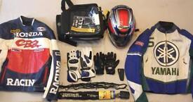 Motorcycle bundle,Motorbike jackets,Helmet,Thank bag,Chain+lock,Summer&Winter gloves,Footpad&Net