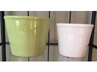 Small Green & White Plant Pots