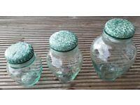 Italian glass display jars with ceramic lids