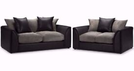 💖💥🔥100% Best Price Guarnted❤Brand New Jumbo Cord 'Double Padded' Byron Corner Or 3+2 Leather Sofa