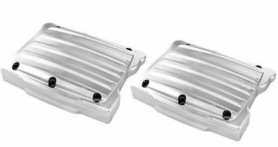 Pair Chrome Rocker Box Cover Finned FXST,FLT 84-91,FXD 92-98,FXR