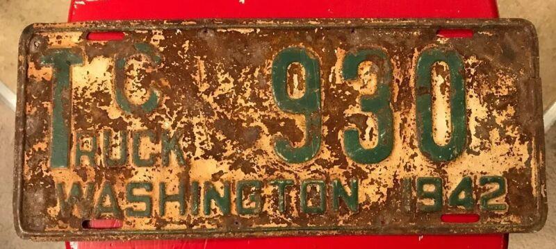 Vintage Spokane County Low # 930. 1942 Washington Truck License Plate Single.