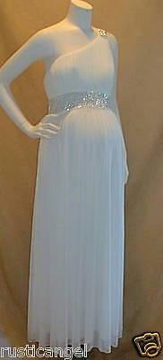 Long Ivory Rhines Maternity Dress Bolero Bridal Gown Wedding Maxi Small