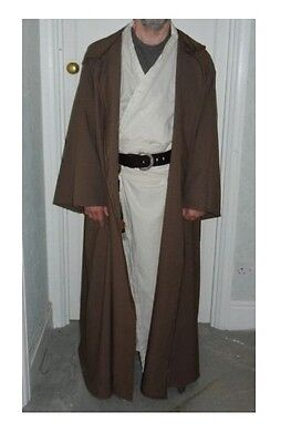oversized taupe brown  hooded cloak with sleeves. jedi monk ](Brown Hooded Cloak)
