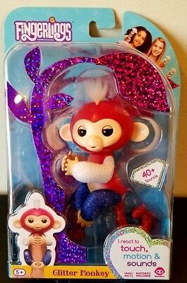 Limited Edition Fingerlings Red White   Blue Glitter Monkey Liberty Authentic