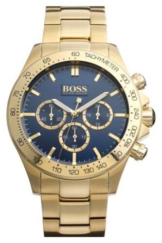 NEU Hugo Boss 1513340 Ikon Herren Uhr Chronograph Edelstahl Farbe: Gold Blau OVP