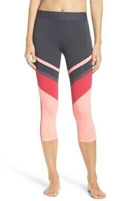 Zella So Hot Crop Leggings Colorblock Pink Spray Size Small EUC