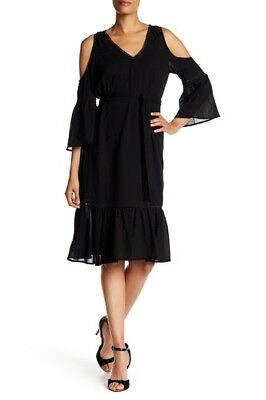 TRINA TURK Black Cold Shoulder Bell Sleeve Grand Dame Cotton Ruffle Midi Dress (Deluxe Cotton Black Belt)