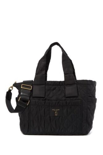 NWT Marc Jacobs, Nylon Diamond Knot Quilted Baby Diaper Bag in Black / gold $325