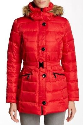 NEW Vince Camuto Scarlet Faux Fur Trimmed Hooded Parka Size