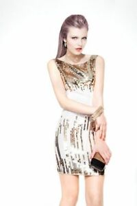Stunning Party Dress with Gold and White Sequins by BEDO