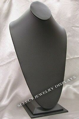 Black Faux Leather Necklace Bust Jewelry Display 14.5h