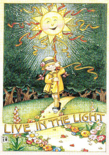LIVE IN THE LIGHT Sun Forest-Handcrafted Fridge Magnet-W/Mary Engelbreit art
