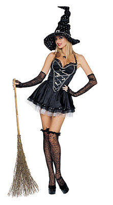 Mystical Witch Black Gothic Wicked Scary Halloween Sexy Adult Costume w/Hat
