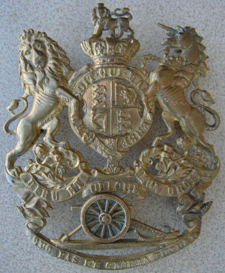 Original 1880s-90s Victorian Crown BRITISH ARTILLERY Helmet Plate