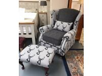 Stag wing backed armchair / foostool - Brand new.